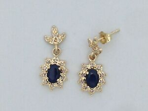 Natural Sapphire with Natural Diamond Dangle Earrings in Solid 14kt Yellow Gold