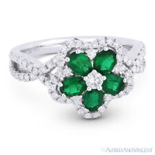 Gold Right-Hand Flower Charm Cocktail Ring 1.19ct Emerald Diamond Pave 18k White