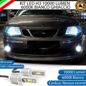 KIT LED H3 FENDINEBBIA SAAB 9-3 CANBUS BIANCO XENO 10000 LUMEN
