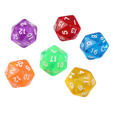 6pcs/Set Games Multi Sides Dice D20 Gaming Dices Game Playing Mixed Color W@