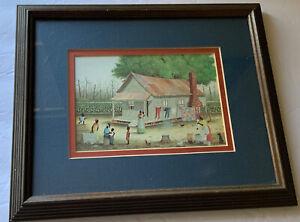 "Jack Meyers Folk Art Matted Framed Print 5x7 ""Grandpa"" '76 Framed Under Glass"