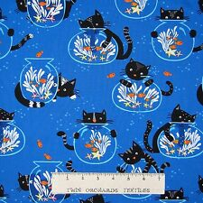 Cat Fabric - Kittens & Fish Bowls on Blue - Timeless Treasures YARD