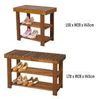 3-tier Shoe Rack Footstool Storage Shelf Organiser Acacia Wood Teak Colour