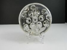 """Pressed Glass Flower Frog Open 13 Hole 3 Feet Clear 4 5/8"""" D"""