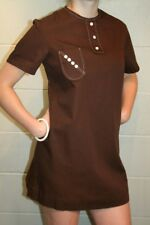 M~L MOD MICRO MINI Vtg 60s Brown Cotton Montgomery Ward A-line SCOOTER Dress