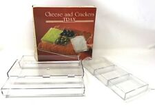 VINTAGE NEW CLEAR ACRYLIC plastic Cheese Serving tray with Cracker bin plate