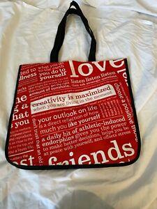 Lululemon Reusable Shopping Tote Bag Small 14x16 x6.5 Red/White Manifesto Print