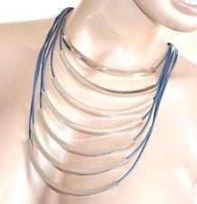 COLLANA girocollo donna GRIGIO ARGENTO maglia multi fili collier cerimonia F280