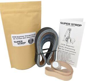 1X30 Super Strop Beginner Knife Sharpening Leather Belt Kit W/ 15 Pack Belt Asst