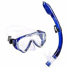 Schnorchelset UPhitnis Kinder Taucherbrille Anti-Fog Trocken Schnorchel Blau