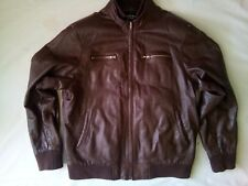 Hatem Sayki Men's Real Leather Bomber Jacket Size XL Brown