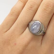 Vtg 925 Sterling Silver Real Diamond Star Sapphire Gem Handmade Ring Size 8