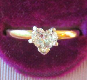 14K & PLATINUM NATURAL VS DIAMOND HEART CUT SOLITAIRE ENGAGEMENT WEDDING RING