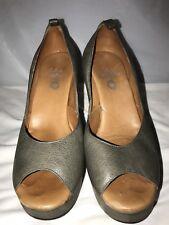 Callen Cordero Gray Leather Wgdges Open Toe Heels  Women Shoes Size 8.5 M