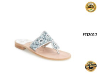 New Jack Rogers Sandals Shiloh Silver / Blue Plaid Tweed Leather Thongs Sz 5 6