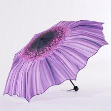 Hot Women Portable Sunflower Folding Windproof Rain Sun Anti-UV Umbrella Parasol