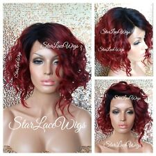 100% Human Hair Blend Red Lace Front Wig Dark Root Wavy Curly Bob Heat Safe Ok
