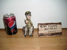 Alan Young Pottery ~ Man Sat On A Bench ~ V Sign ~ Excellent ~ RARE
