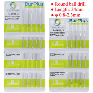 Dental Surgery Burs Implant Surgical Round Ball Head Tool Instrument Length 34mm