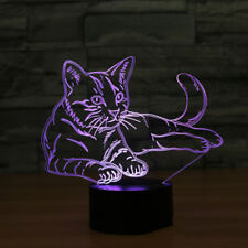 Acrylic 3D Cat Night Light Touch Switch Desk LED Lamp 7Colour Changing USB Gift