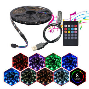 5V USB RGB LED Stripe Streifen 5050 SMD Lichtband Band Leiste+Musik Controller