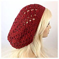 Women's Handmade SLOUCHY BEANIE Hat Rasta EXTRA Soft BAGGIE Tam Solid AUTUMN RED