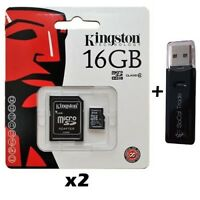2 PACK - Lot of 2 Kingston 16GB MicroSD HC Memory Card SDC4/16GB with SD Adapter