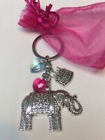 Happy Birthday Elephant Keyring Gift Keepsake  - With  Organza Gift Bag Freepost