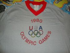 VINTAGE LEVIS 1980 USA LAKE PLACID NEW YORK OLYMPICS RINGER T SHIRT Adult size M