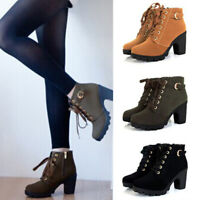 Winter Women Round Toe Ankle Boots Block High Heels Zipper Lace Up Short Boot