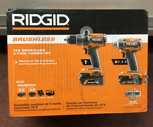 Ridgid R9208 18V Brushless 2 Tool Combo Kit NEW #6