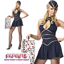 Ladies Air Hostess Costume Stewardess Cabin Crew Fancy Dress Uniform Womens