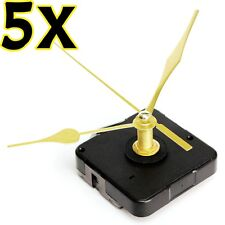 5Pcs DIY Wall Quartz Clock Long Gold Hands Spindle Movement Mechanism Repair Kit