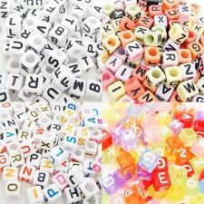 100 x 6mm Mixed Letter Alphabet Loose Pony Bead White Multi Black Transparent