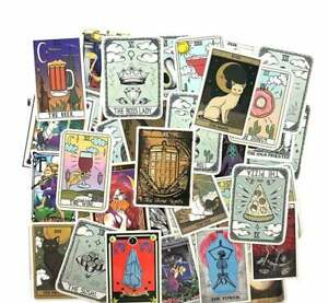 Pack of 50 Assorted Tarot Card Stickers. Spiritual Occult Witch Decals Readings