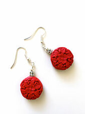 New Handmade Dangle Earrings Red Cinnabar Carved Flower Beads Silver Gold Hooks