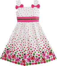Sunny Fashion Girls Dress Bug Print Colorful Dot Children Clothing Size 2-8