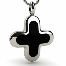 White Solid Gold 14ct Cross Pendant for Man with Black Enamel, for Christening