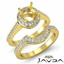 Diamante de Compromiso Pavé Anillo Redondo Novia Sets 14k Oro Amarillo Semi