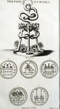 Trepied et Autels Religion Romaine Rome Antiquité Montfaucon - Gravure XVIIIe
