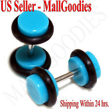 2044 Turquoise Blue Fake Cheater Illusion Faux Ear Plugs 16G Bar 2G = 6mm - 2pcs