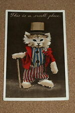 """Vintage Postcard: """"This is a Swell Place"""" Theatrical Cat, Theatre, Dressed Up"""