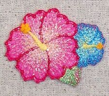 Hibiscus - Pink/Blue Tropical Flower/Hawaiian Iron on Applique/Embroidered Patch