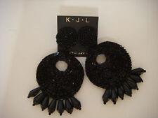 Kenneth Jay Lane Black Clip on Seed bead Gypsy Drop Earrings  New