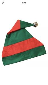New 6 Adult Red & Green Stripe Elf Hats & Silver Bell Christmas Xmas Fancy Dress