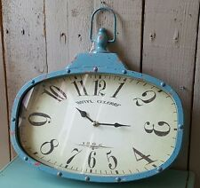 NEW Shabby Chic Rustic LOFT Vintage RETRO Metal Industrial Teal Blue Wall CLOCK