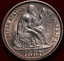 Uncirculated 1887-P Philadelphia Mint Silver Seated Liberty Dime