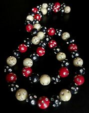 Vintage Celluloid Rhinestones Necklace in Ivory Red and Black 1950s