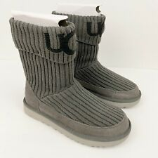 UGG Classic Ugg Logo Knit Sweater Boots Charcoal Sz 6 NEW W48/49