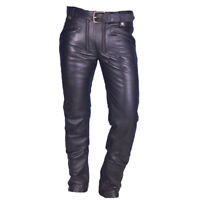 MENS REAL COWHIDE LEATHER CARPENTER PANTS BIKERS LEATHER PANTS